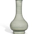 A 'Longquan' Celadon Bamboo-Neck Vase, Xianwen Ping, Song-Yuan dynasty