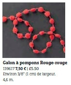B17 Galon pompons rouge