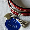 Bracelet cuir double tour I love Paris (détails)