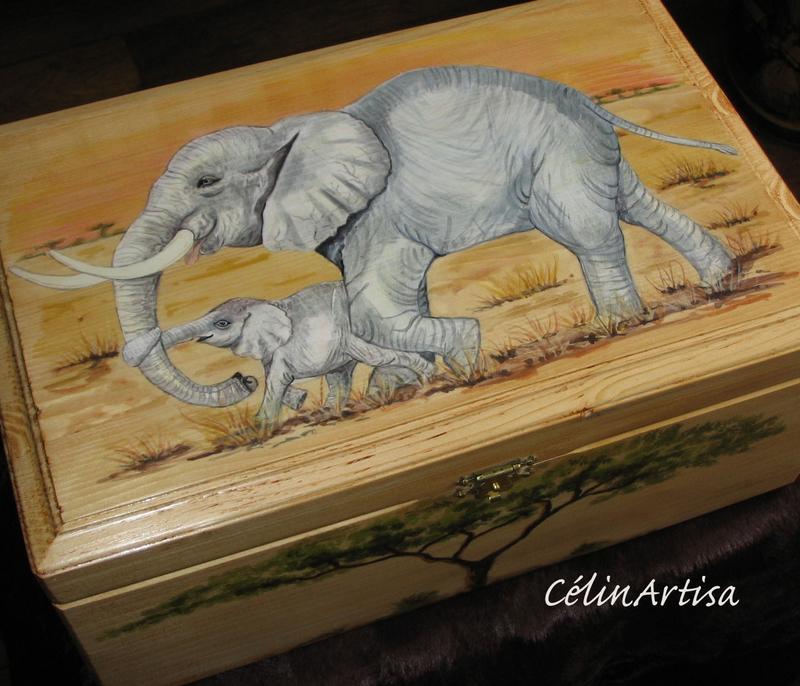 """Coffret """"Eléphante et son petit"""""""