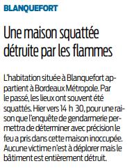 2020 01 23 Blanquefort une maison squattée détruite par les flammes
