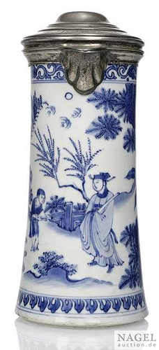 A silvered-mounted blue and white tankard with scholar and page boy, China, Transitional period