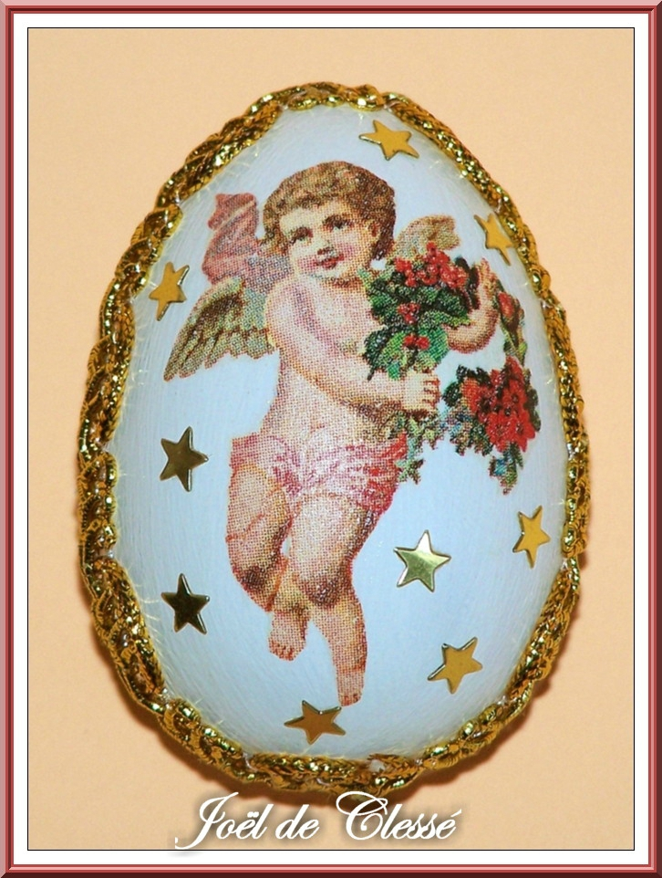 Oeuf Pâques décoré serviettage 9
