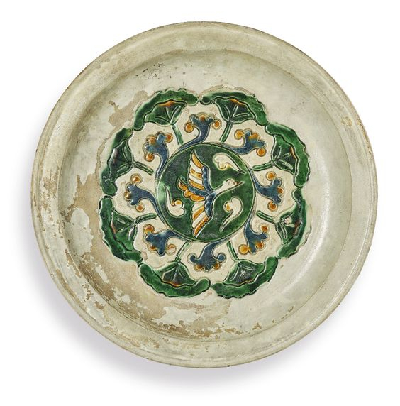 A sancai and blue-glazed tripod dish, Tang dynasty (618-907)