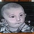 Commande en urgence (4j) un beau bébé à l'acrylique sur toile en 40x50 cm d'après photo