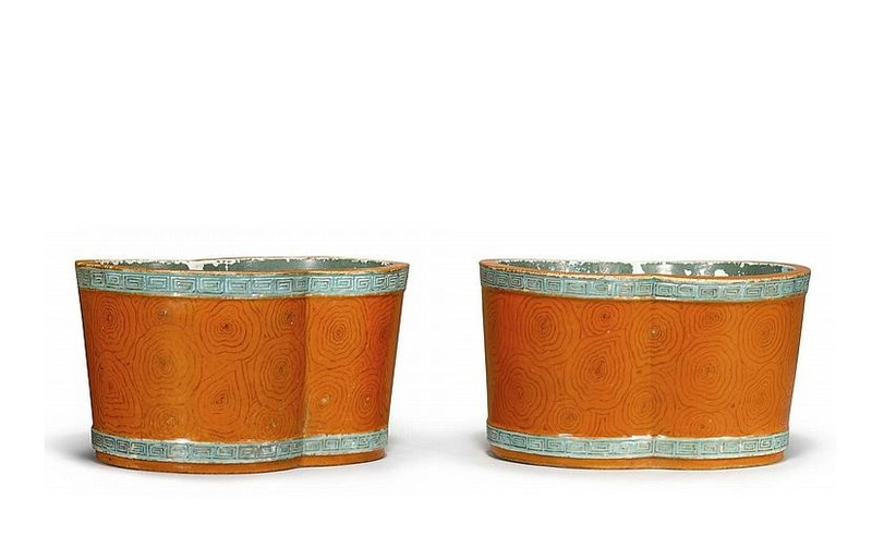 A pair of faux-bois jardinières, late Qing dynasty