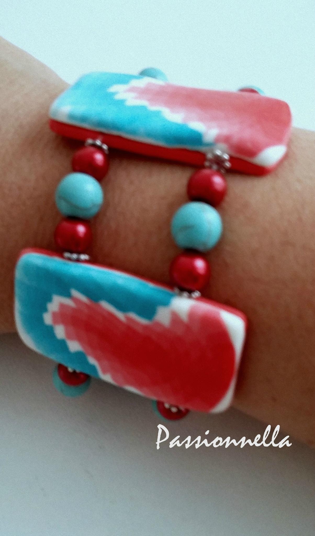 bracelet fimo rouge cane indienne