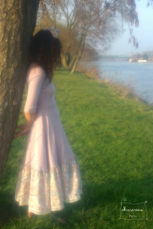 robe Ygerne rose poudre maureen3