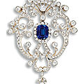An antique sapphire and diamond brooch