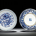 A pair of blue and white 'dragon' dishes, seal marks and period of qianlong (1736-1795)