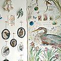 Tenture peinte et brodée héron - conte textile ©Marimerveille