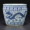 A large blue and white fish bowl, Jiajing six-character mark in underglaze blue in a line within a rectangle and of the period (1522-1566)