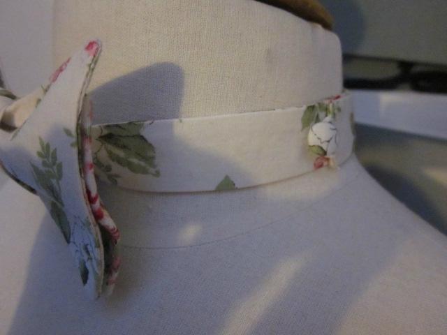 Véritable NOEUD PAPILLON en coton écru fleuri rose (4)