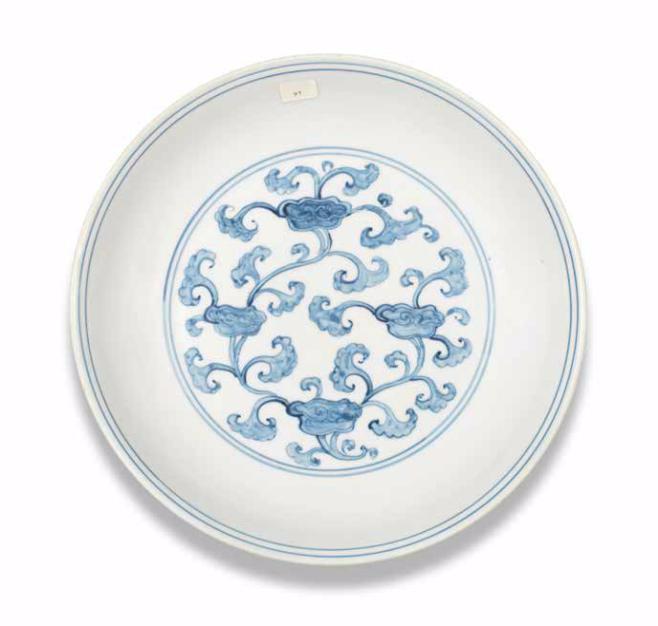 A rare blue and white 'lingzhi' dish, Hongzhi-Zhengde period