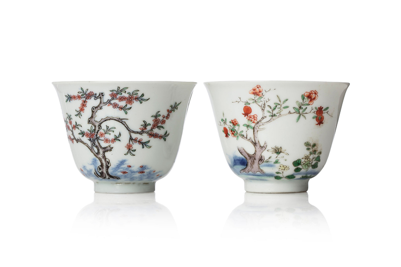 Two famille verte 'month' cups, 18th century, Kangxi mark and Yongzheng mark