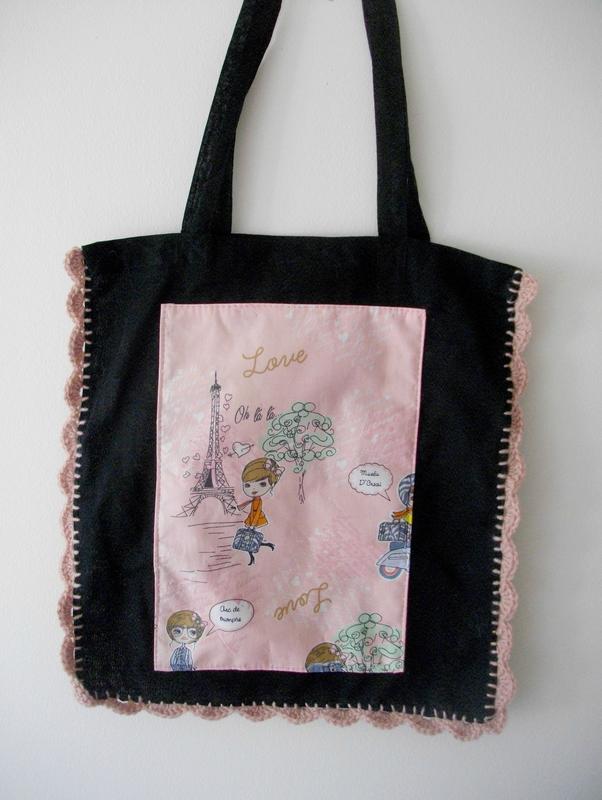 customisation-tote-bag-couture-bordure-crochet-noir-vieux-rose-laine-tissu-paris