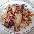 Calamars farcis aux légumes rissolés