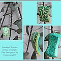 Pendentif Rectangle Spirales-Turquoise&Or