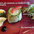 Tartare de saumon en ballotine de concombre