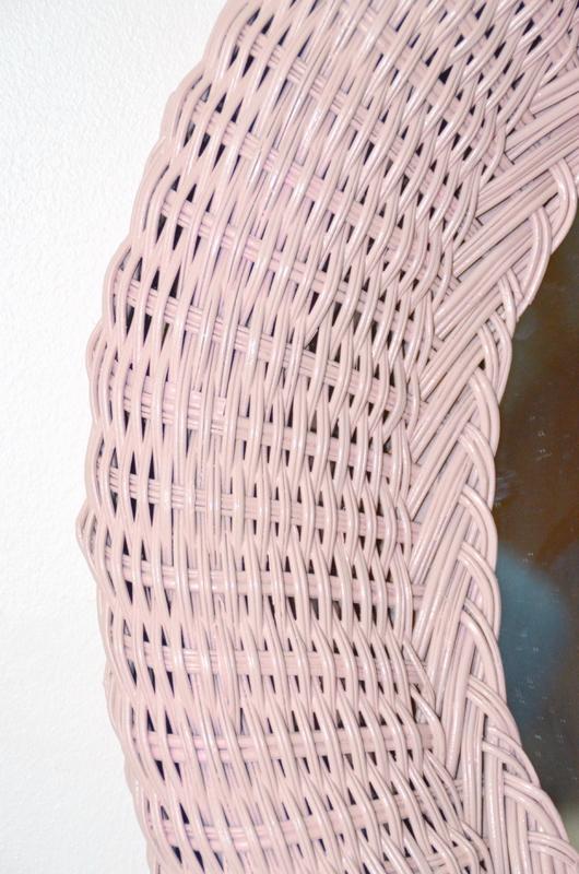 miroir rotin rose détail