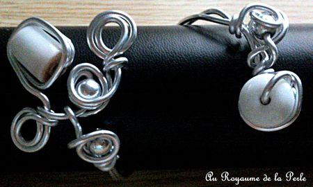 Bracelet alu blanc et métal argenté
