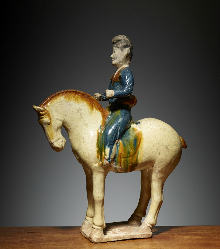 Homme à cheval, Chine, Dynastie des Tang (618 – 907), ca 7°siècle