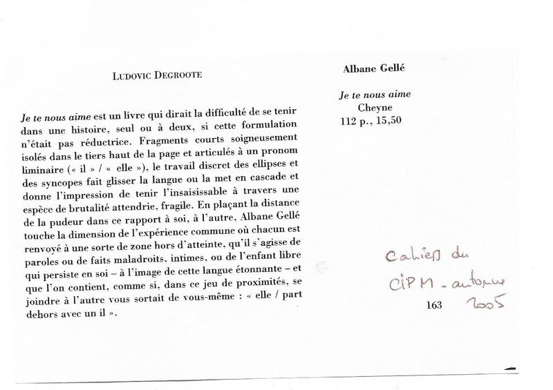 Note de Ludovic Je te nous aime