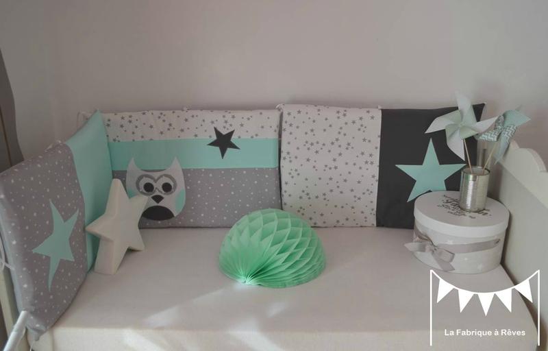 tour lit linge lit gris vert d'eau vert menthe blanc étoiles hibou - décoration chambre bébé fille garçon chouette étoiles vert d'eau gris blanc vert menthe