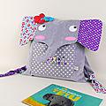Sac à dos fille elephant personnalisé prénom April gris violet mauve rouge sac bébé personnalisable crèche école maternelle