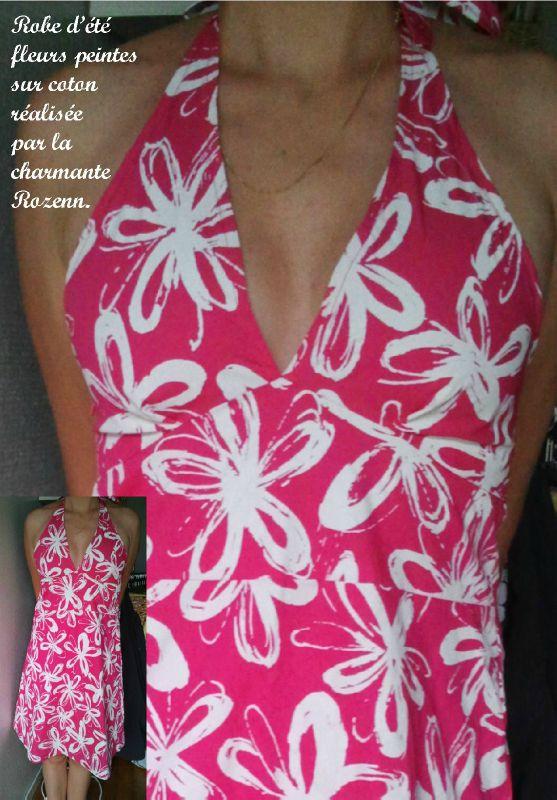 ROBE à fleurs peintes sur du coton / ROZENN