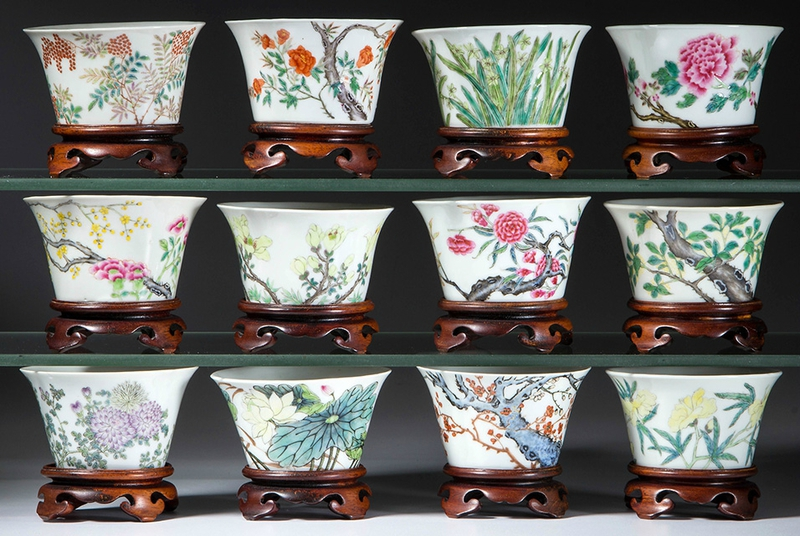 Set of Chinese Export porcelain famille rose Ming-style months tea bowls
