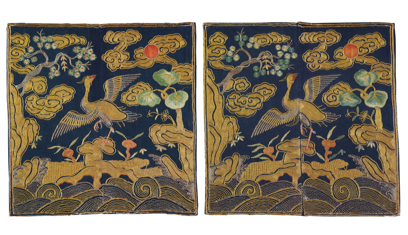 A rare pair of gold and silver embroidered civil official's rank badges of egrets,buzi, early Qing dynasty, 18th century